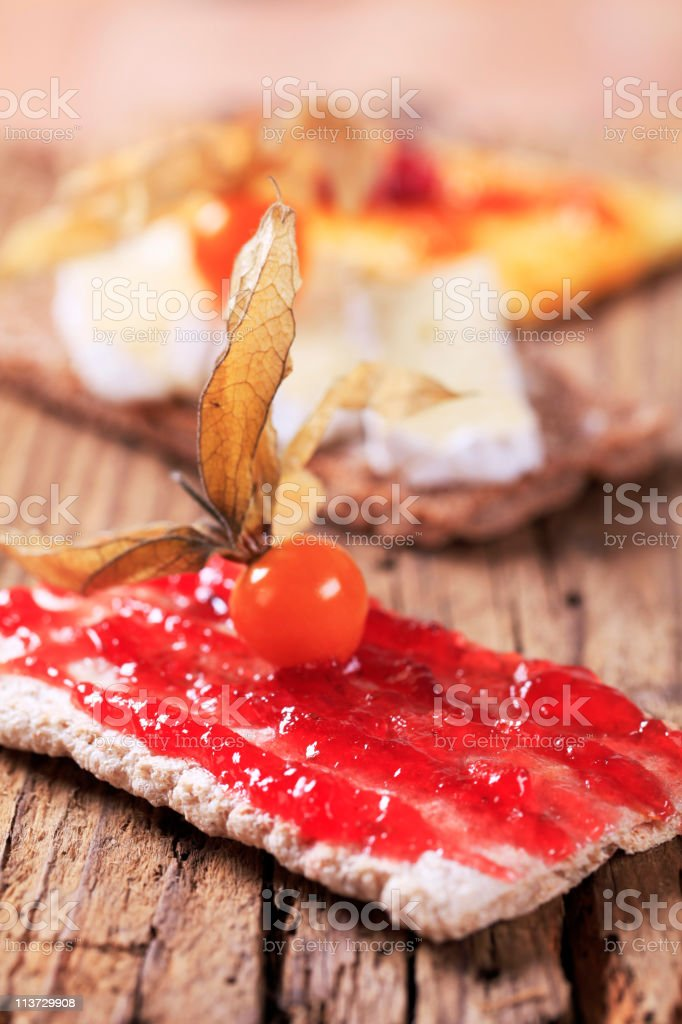 Variety of crackers stock photo