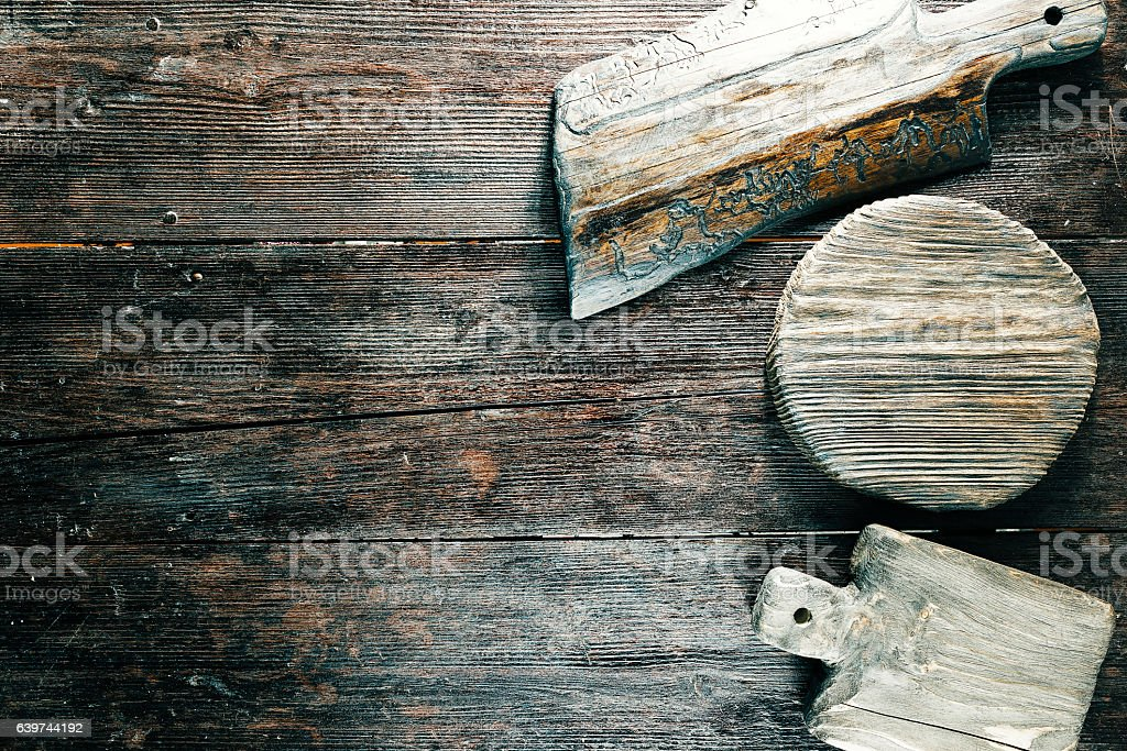 Variety of cutting boards stock photo