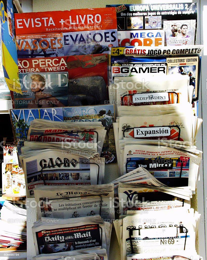 Variety of daily newspapers and magazines stock photo