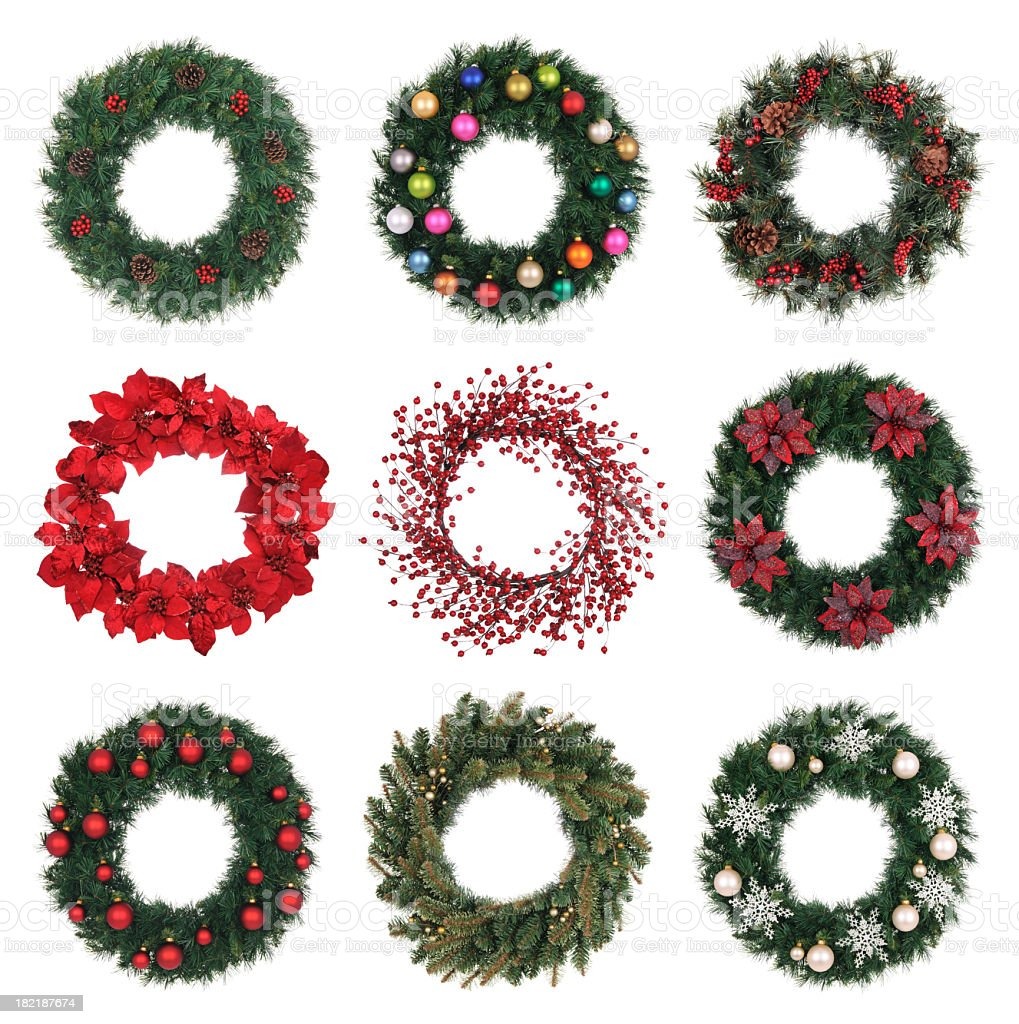 A variety of decorated holiday wreaths stock photo