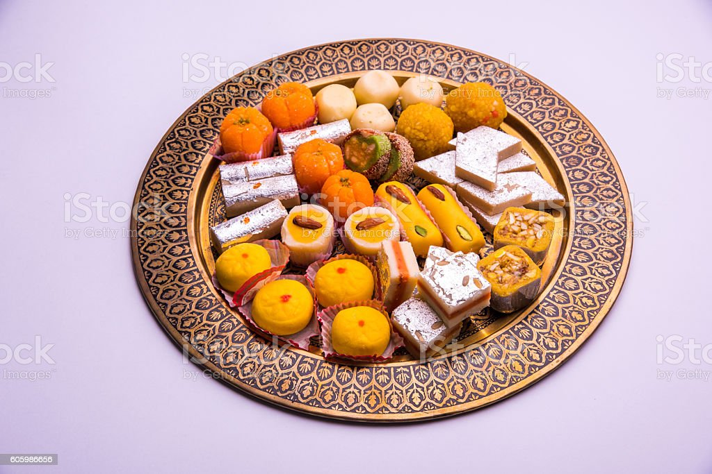 variety of delicious diwali sweets from india stock photo