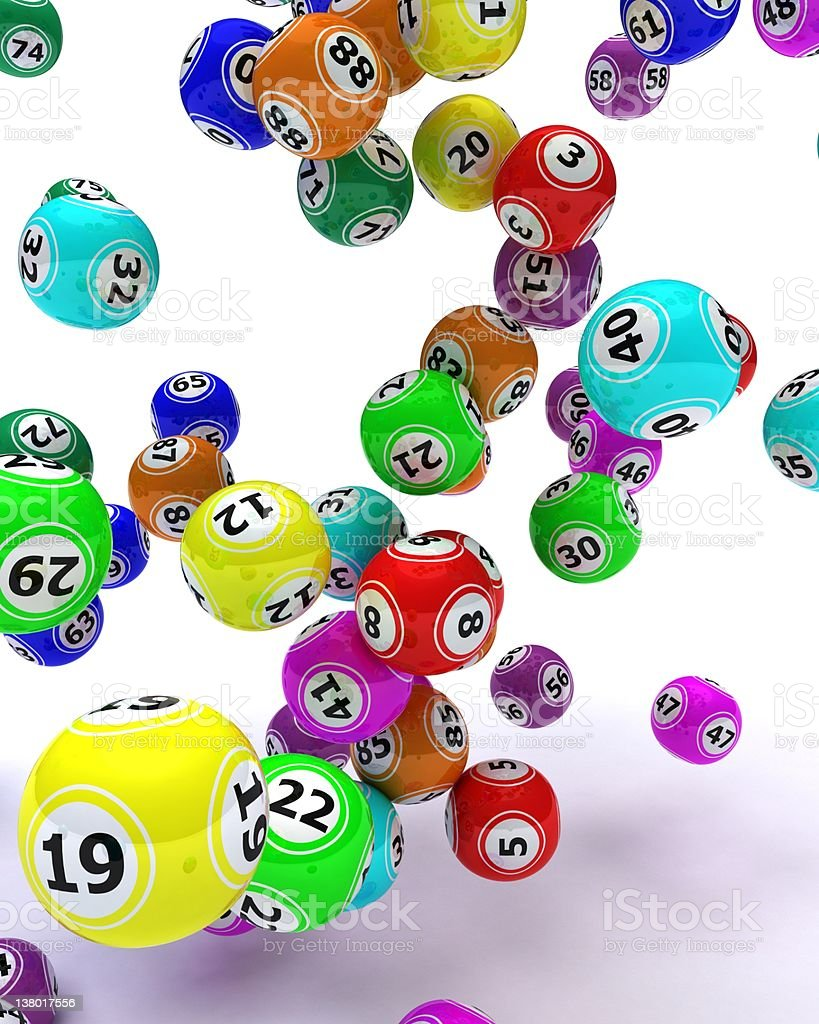 Variety of different colored bingo balls royalty-free stock photo