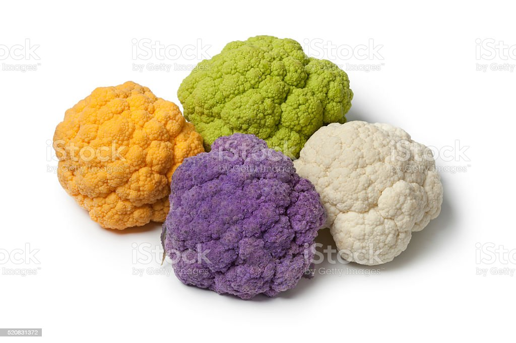 Variety of different colors cauliflower stock photo