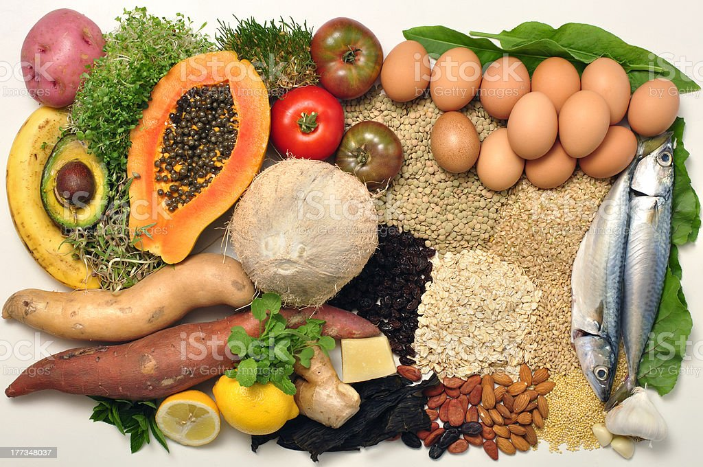 A variety of different healthy food stock photo