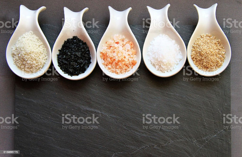 Variety of Different Sea Salts stock photo