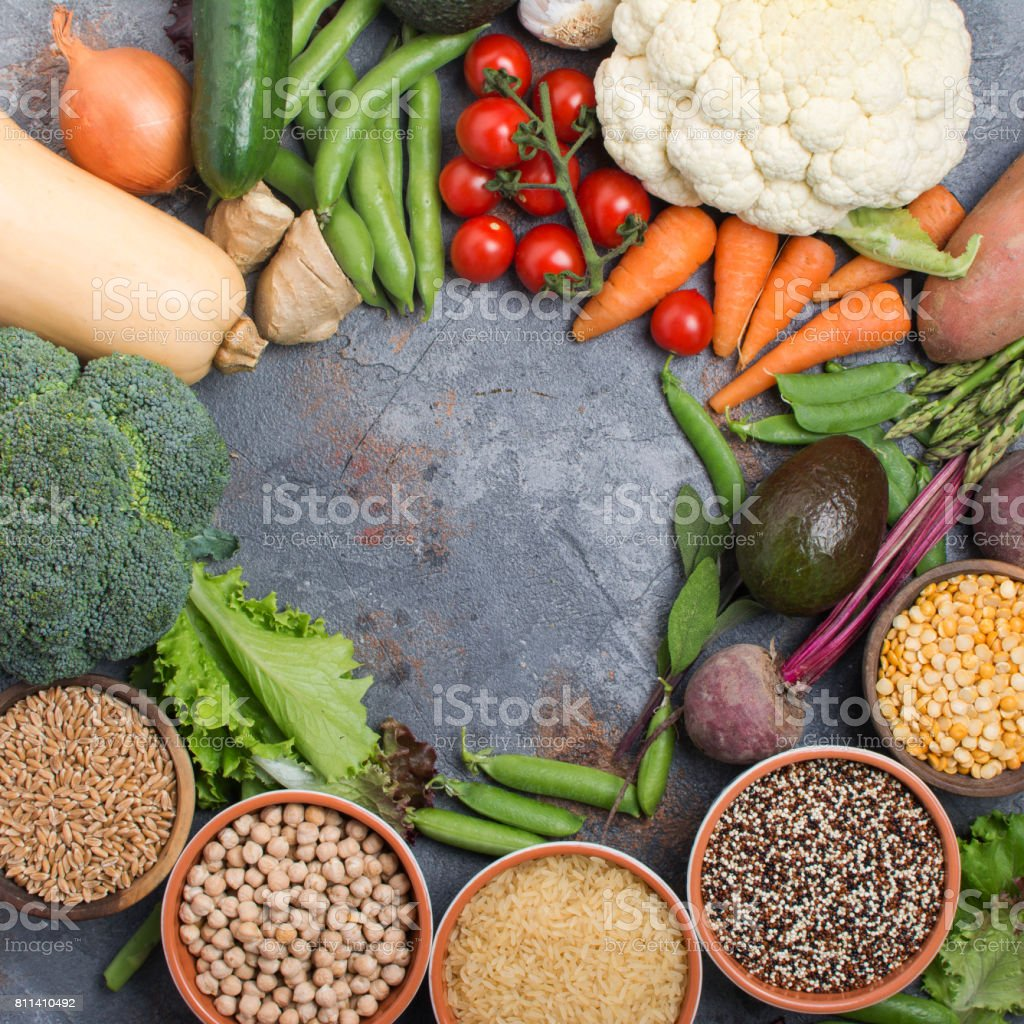 Variety of different vegetables and grains stock photo