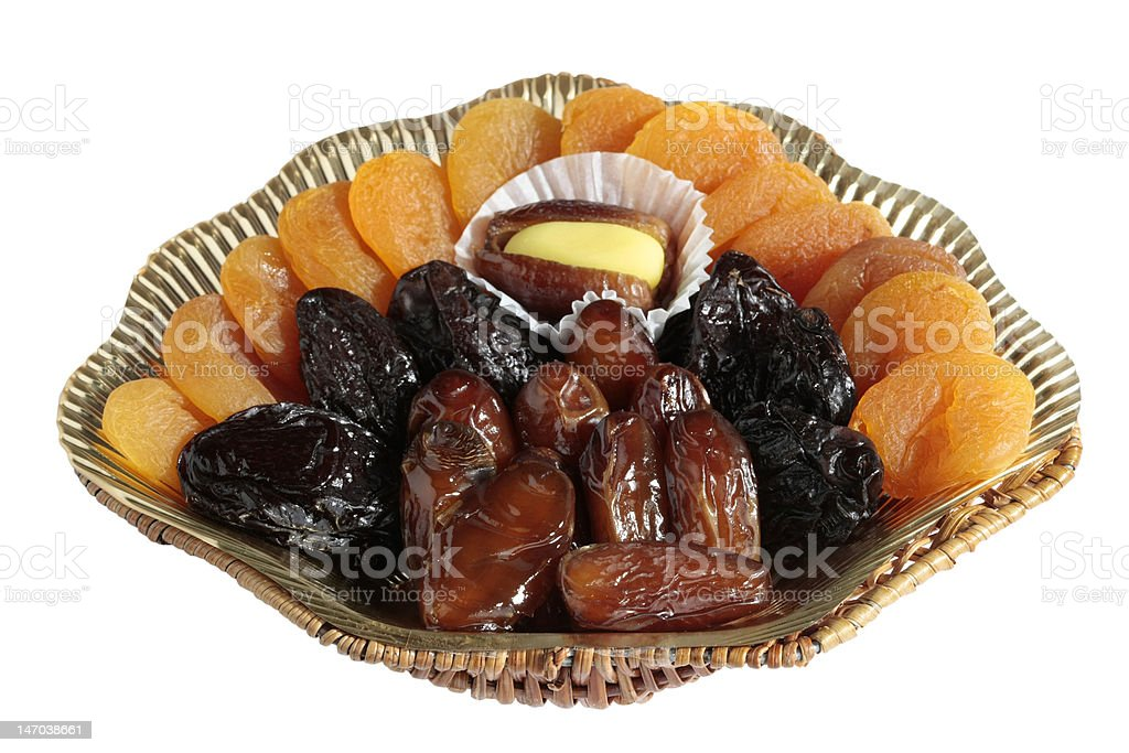 Variety of dried fruits on white background royalty-free stock photo