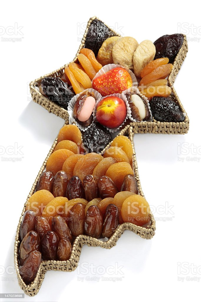 Variety of dried fruits stock photo