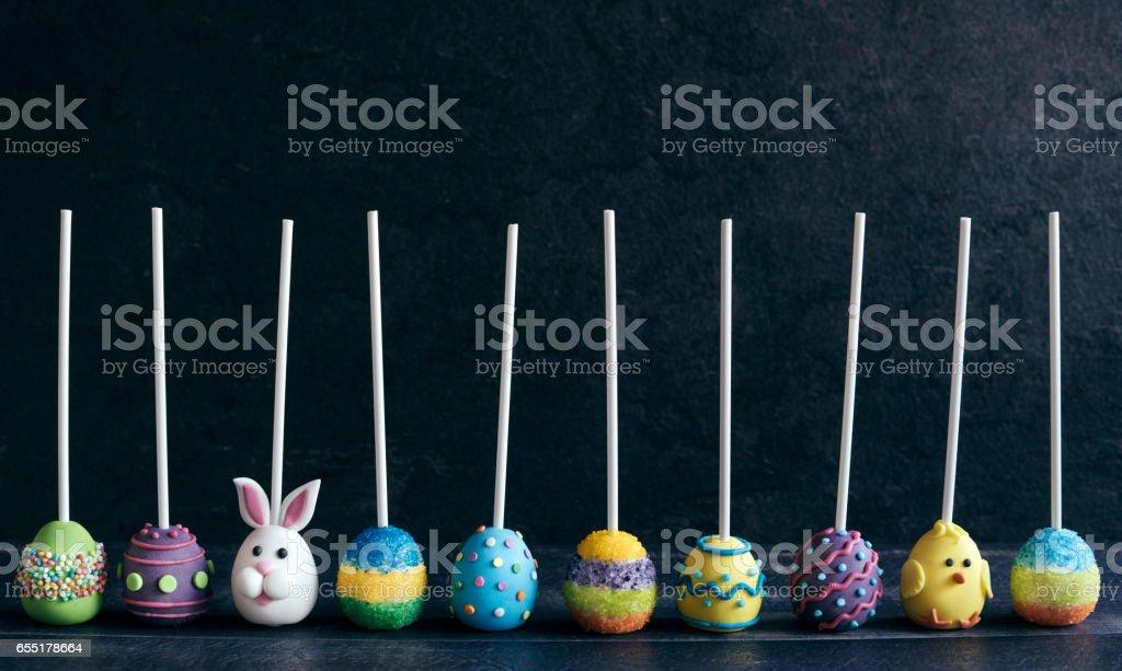 Variety of Easter cake pops stock photo