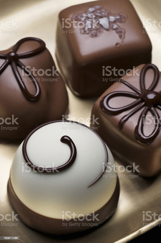 Variety of Elegant Chocolate Truffles royalty-free stock photo