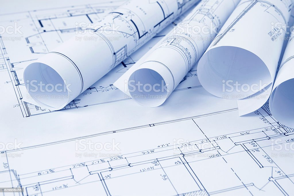 Variety of Engineering Construction Drawings stock photo