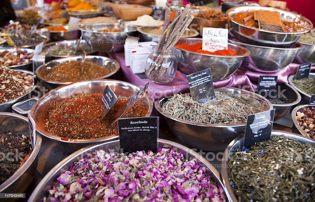 variety of exotic herbs and spices for gourmet kitchen stock photo
