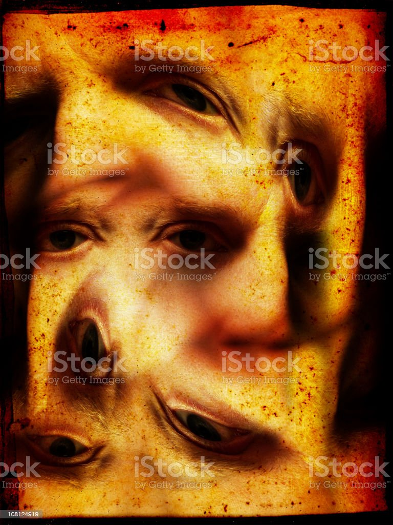 Variety of Eyes Twisted on Distressed Background royalty-free stock photo