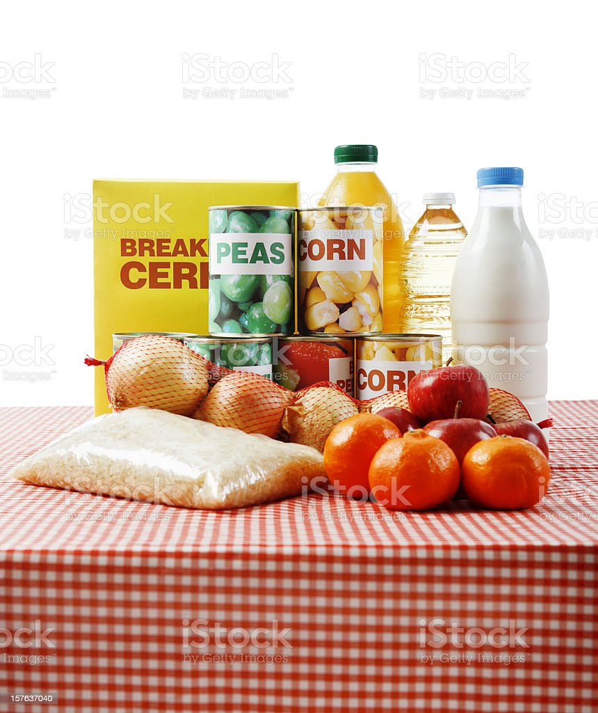 Variety of fresh & packaged basic foods isolated on white royalty-free stock photo