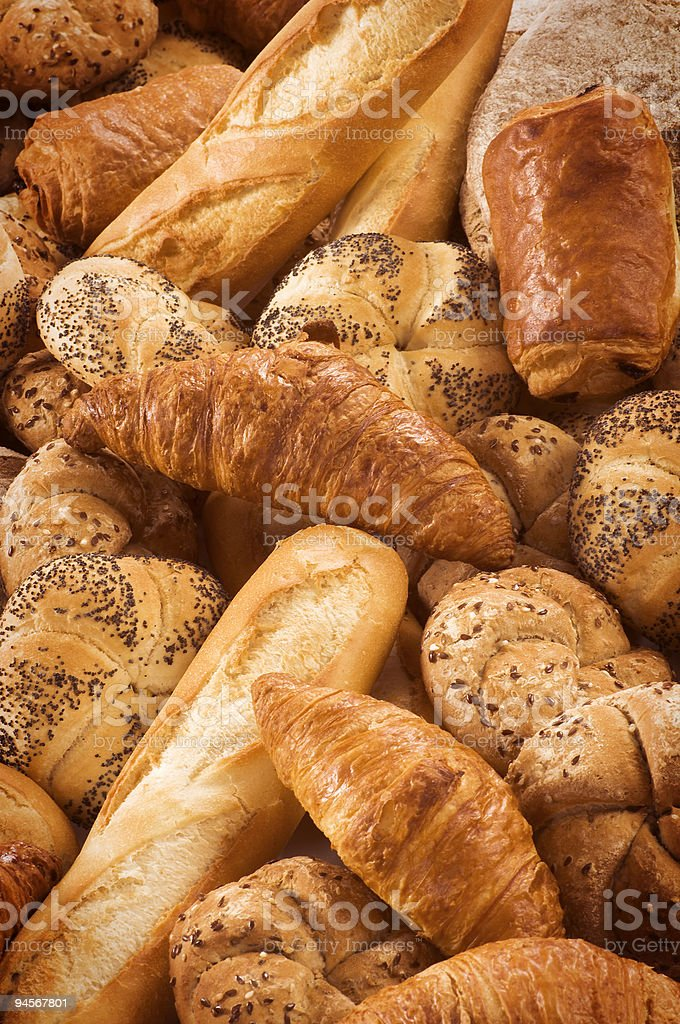Variety of fresh bread and pastry royalty-free stock photo