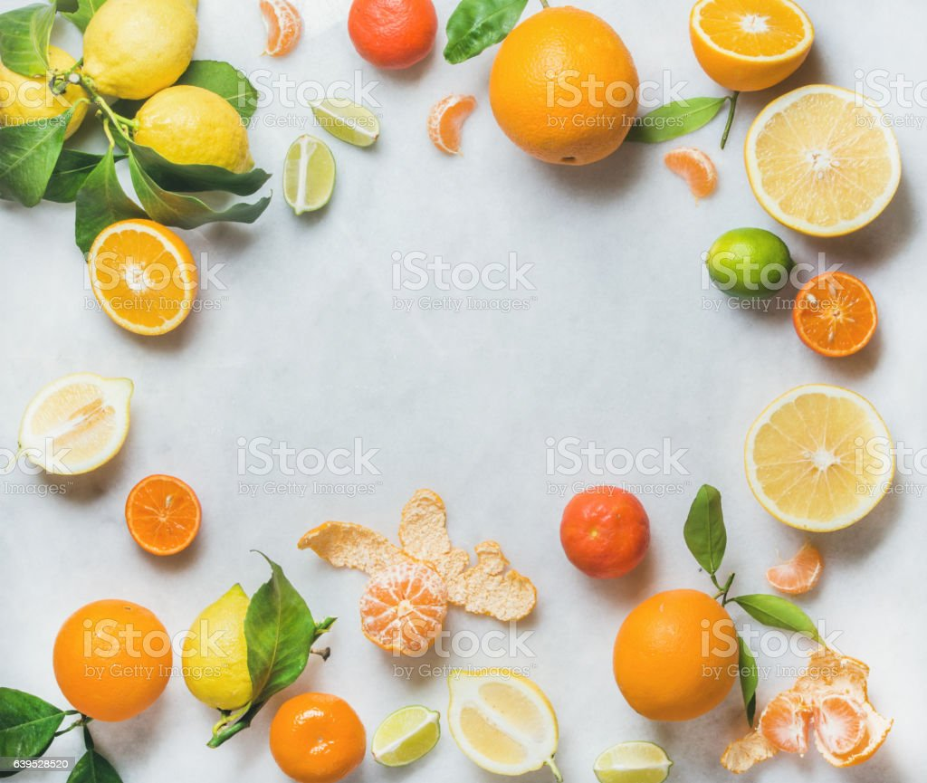 Variety of fresh citrus fruit, healthy eating concept stock photo