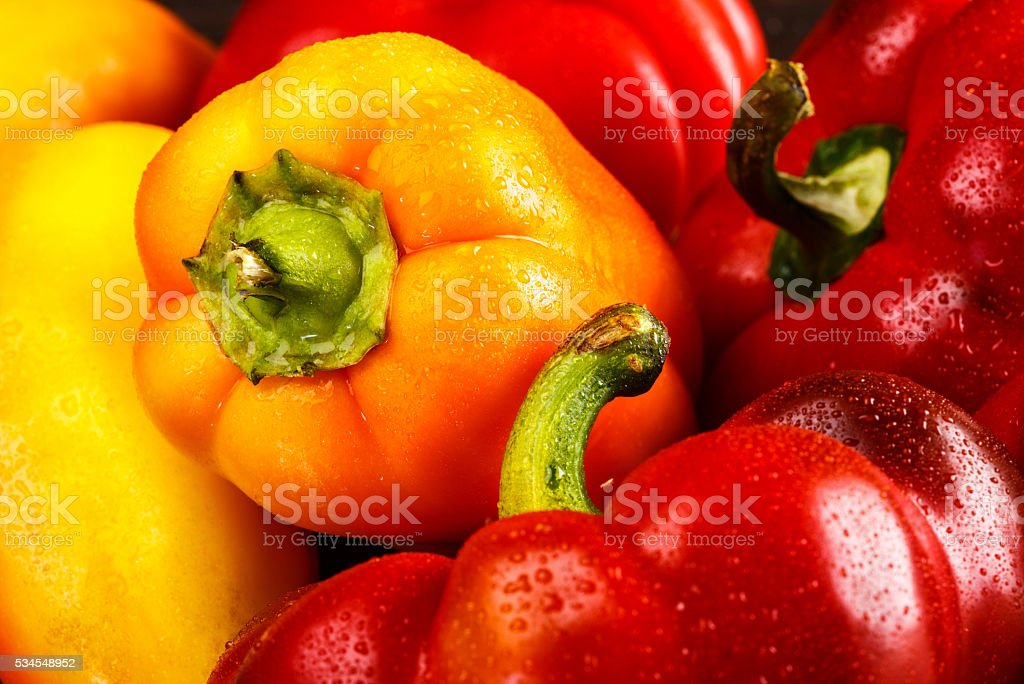 Variety of fresh organic peppers stock photo