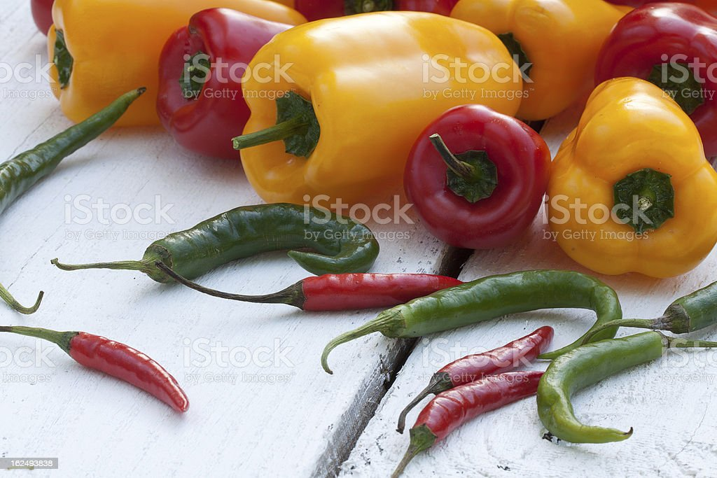 Variety of fresh peppers royalty-free stock photo