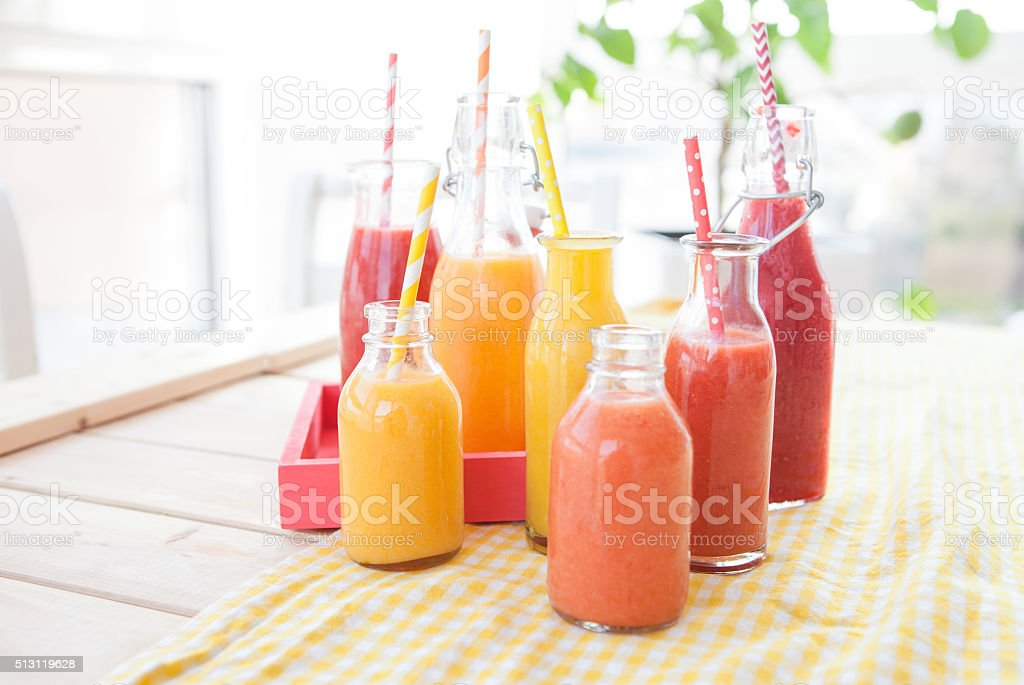 Variety of fresh smoothies stock photo