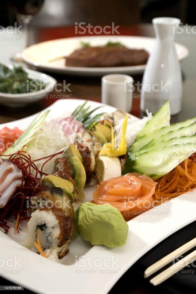 Variety of fresh sushi royalty-free stock photo