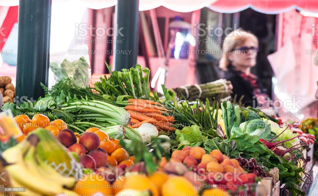 Variety of fruits in Venice market stall royalty-free stock photo