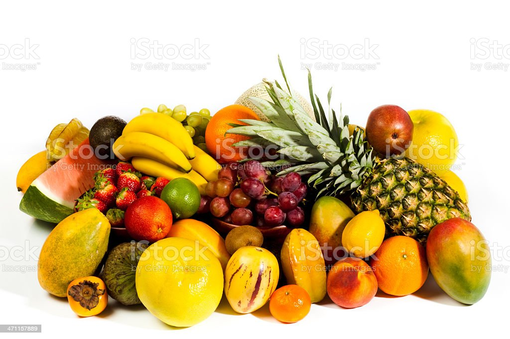Variety of fruits on white royalty-free stock photo