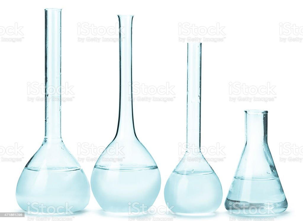 variety of glass bulbs with reagents stock photo