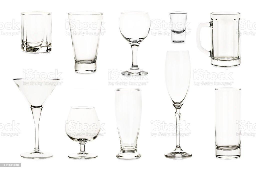 variety of glasses stock photo