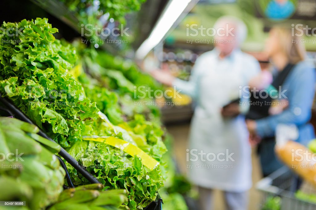 Variety of green leafy lettuce in supermarket produce section cooler stock photo