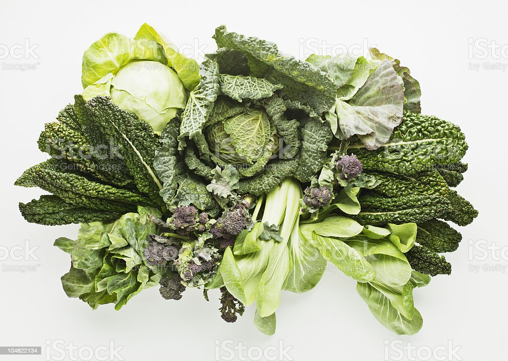 Variety of green vegetables stock photo