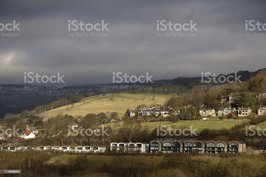 Variety of houses in dramatic light stock photo