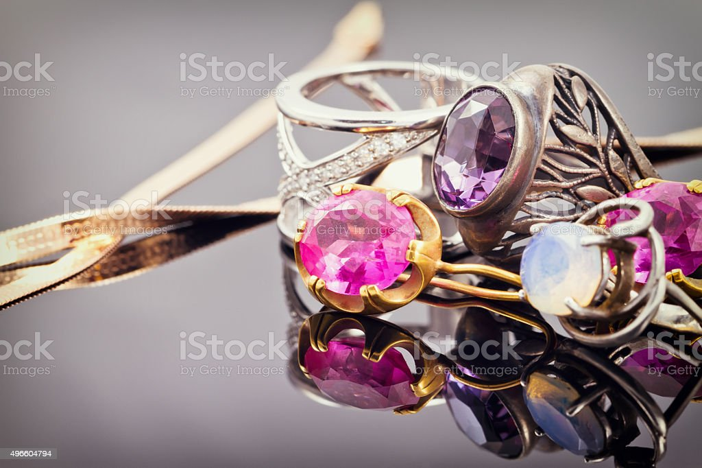 variety of jewelry made of precious metals stock photo