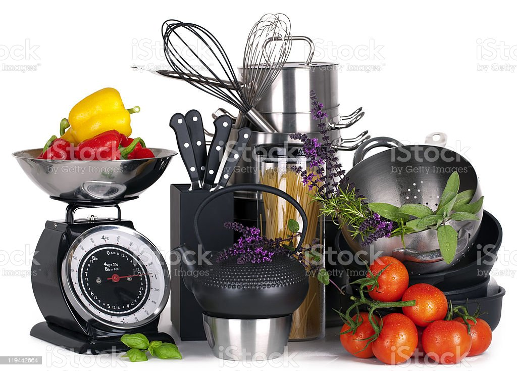 A variety of kitchen tools and food stock photo