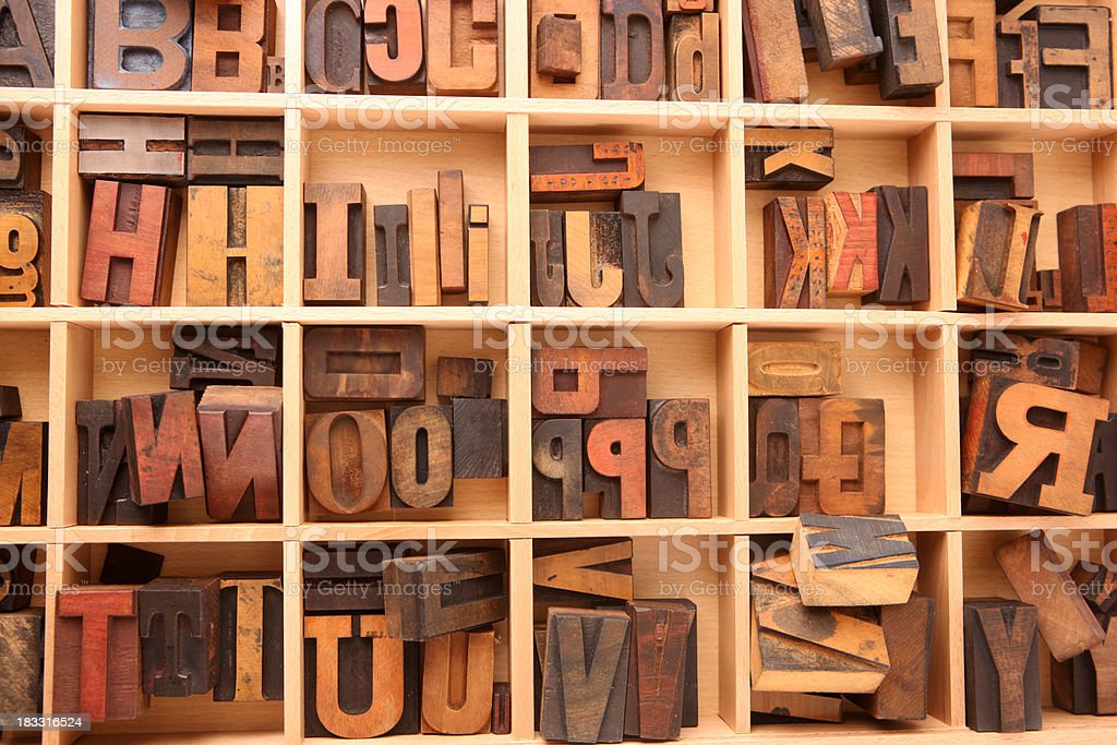 Variety of Letterpress Letters royalty-free stock photo