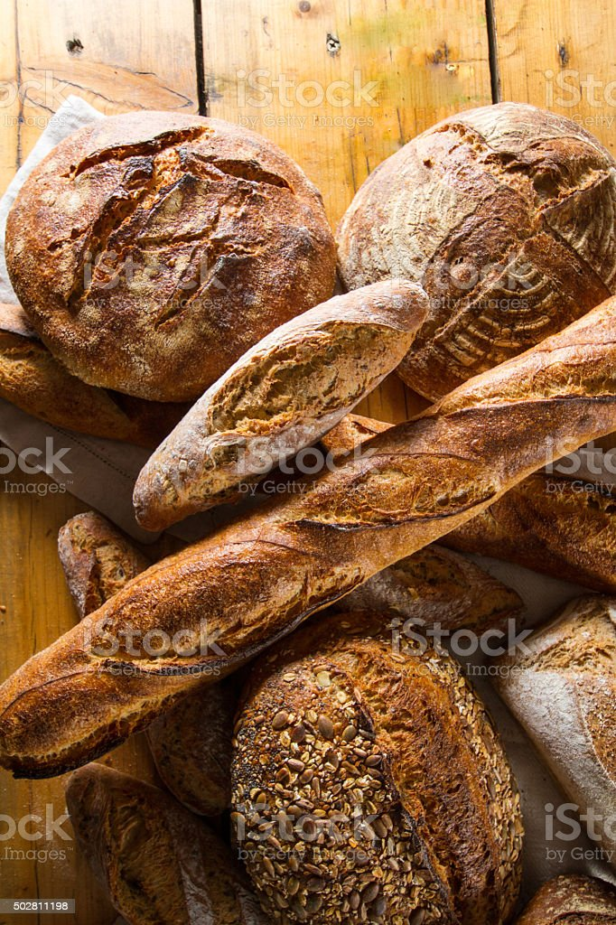 Variety of loaves of bread stock photo