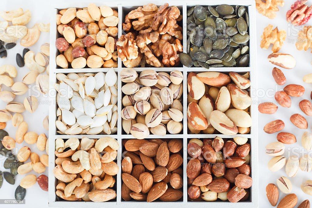 Variety of Mixed Nuts stock photo