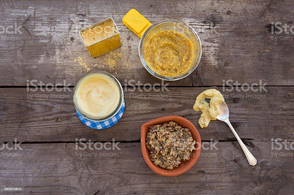 Variety of Mustards stock photo