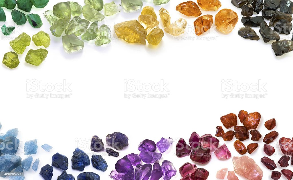 Variety of natural colorful gems. Horizontal composition. stock photo