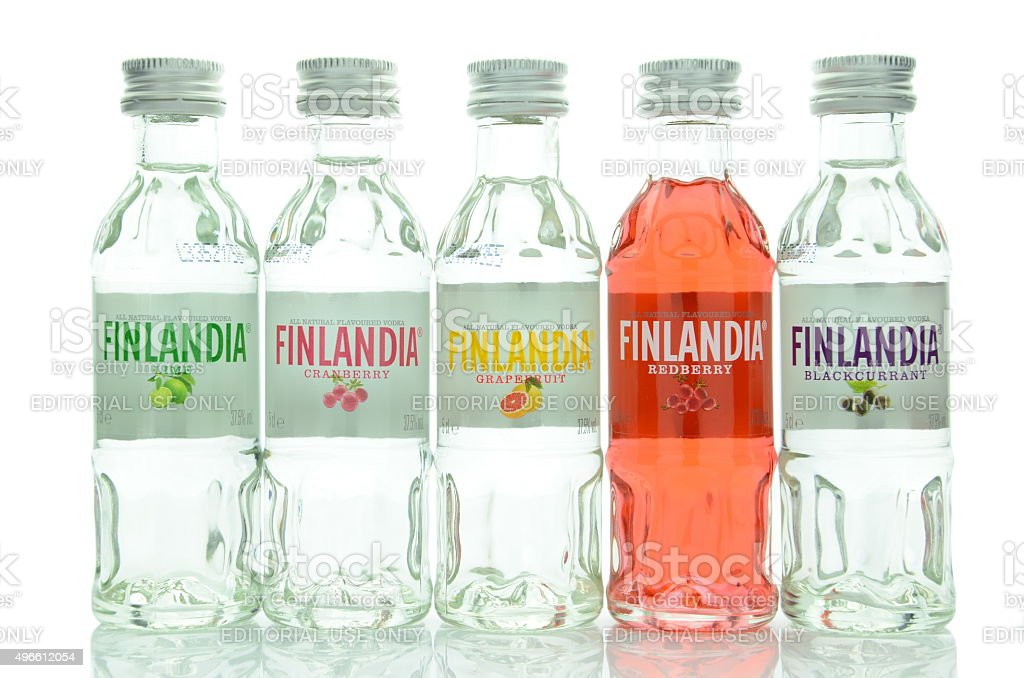 Variety of natural flavoured Finlandia vodka isolated on white background stock photo