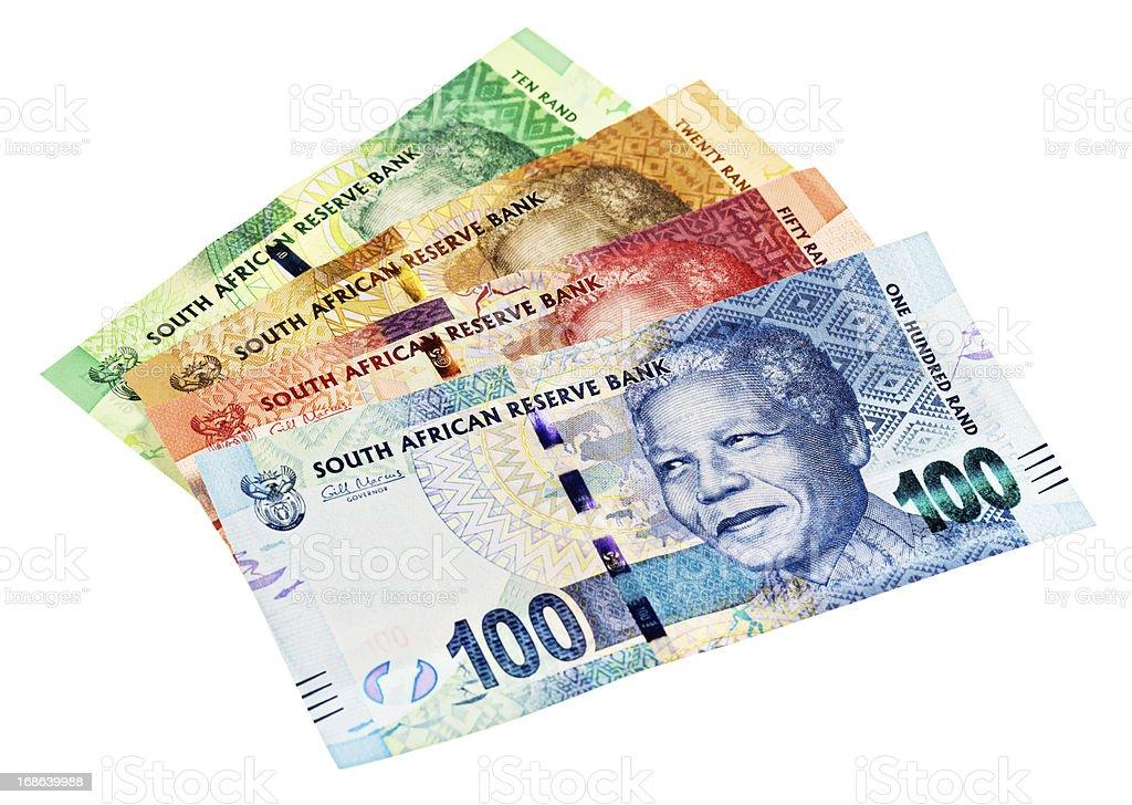 Variety of new South African Mandela banknotesa stock photo