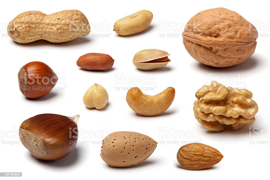 Variety of Nuts on White stock photo