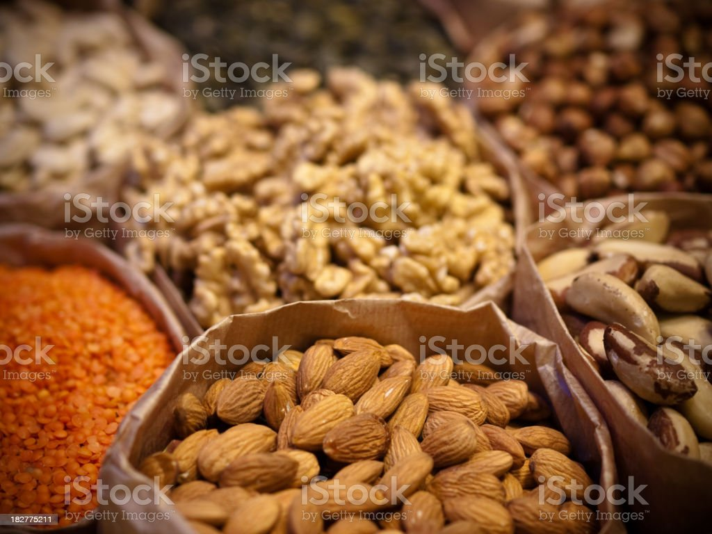 Variety of nuts royalty-free stock photo