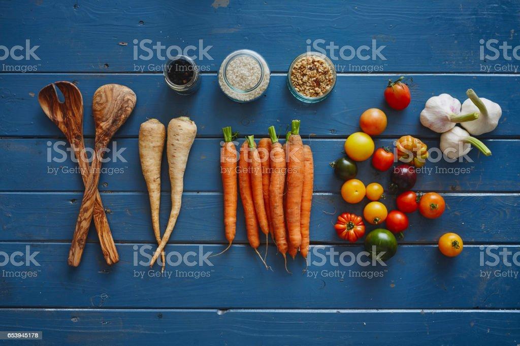 variety of organized autumn vegetables stock photo