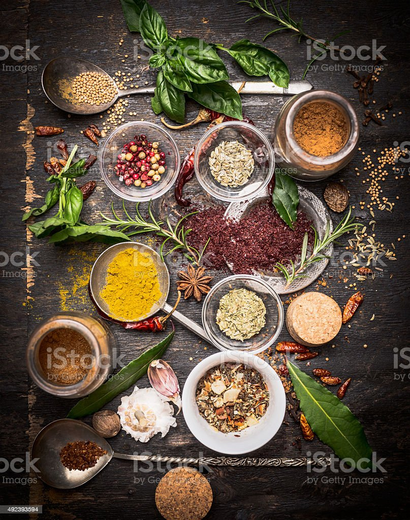 variety of oriental herbs and spices, cooking concept. stock photo