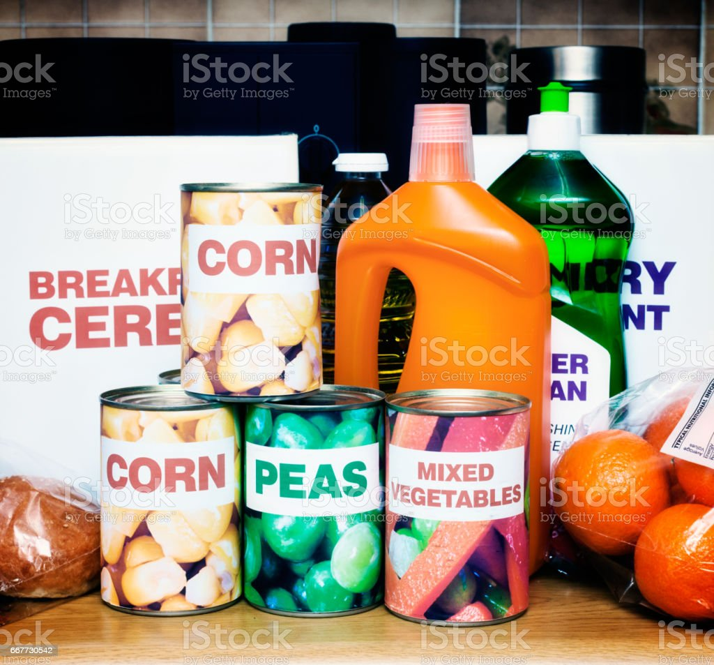 A variety of generic foods and cleaning materials sits on a kitchen...