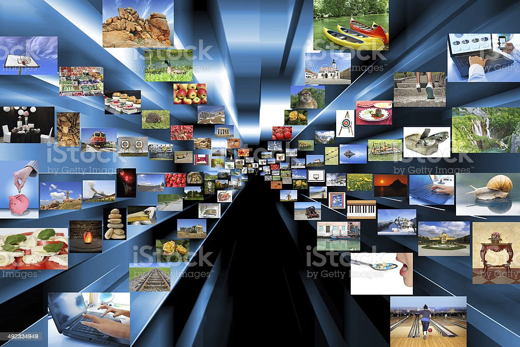 Variety of photos as background stock photo