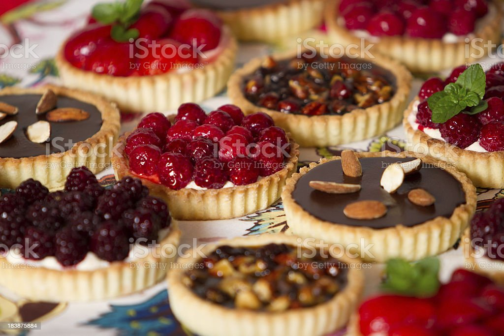 Variety of pies and pastries stock photo