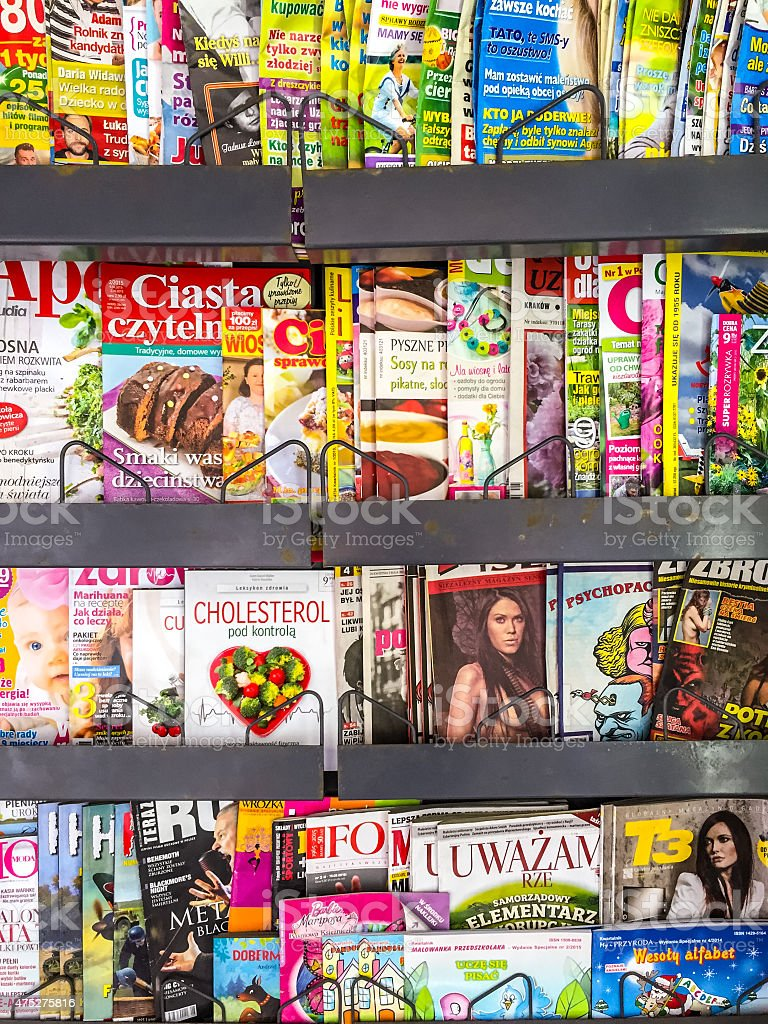 Variety of Polish Magazines on a newsstand, Warsaw stock photo