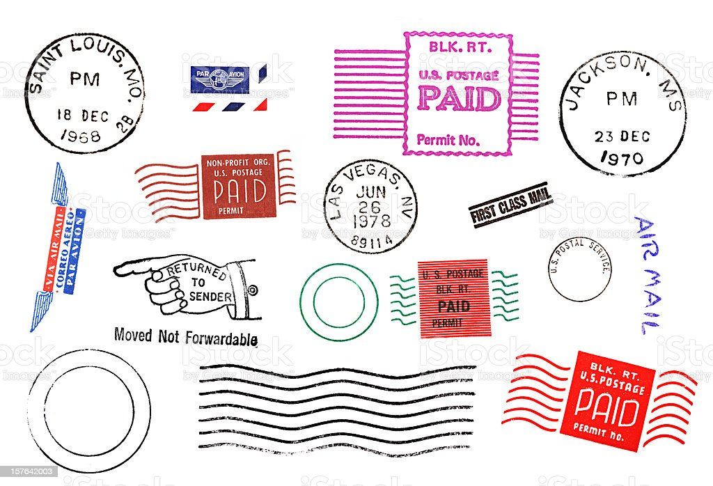 Variety of Postal mail marks and stamps stock photo