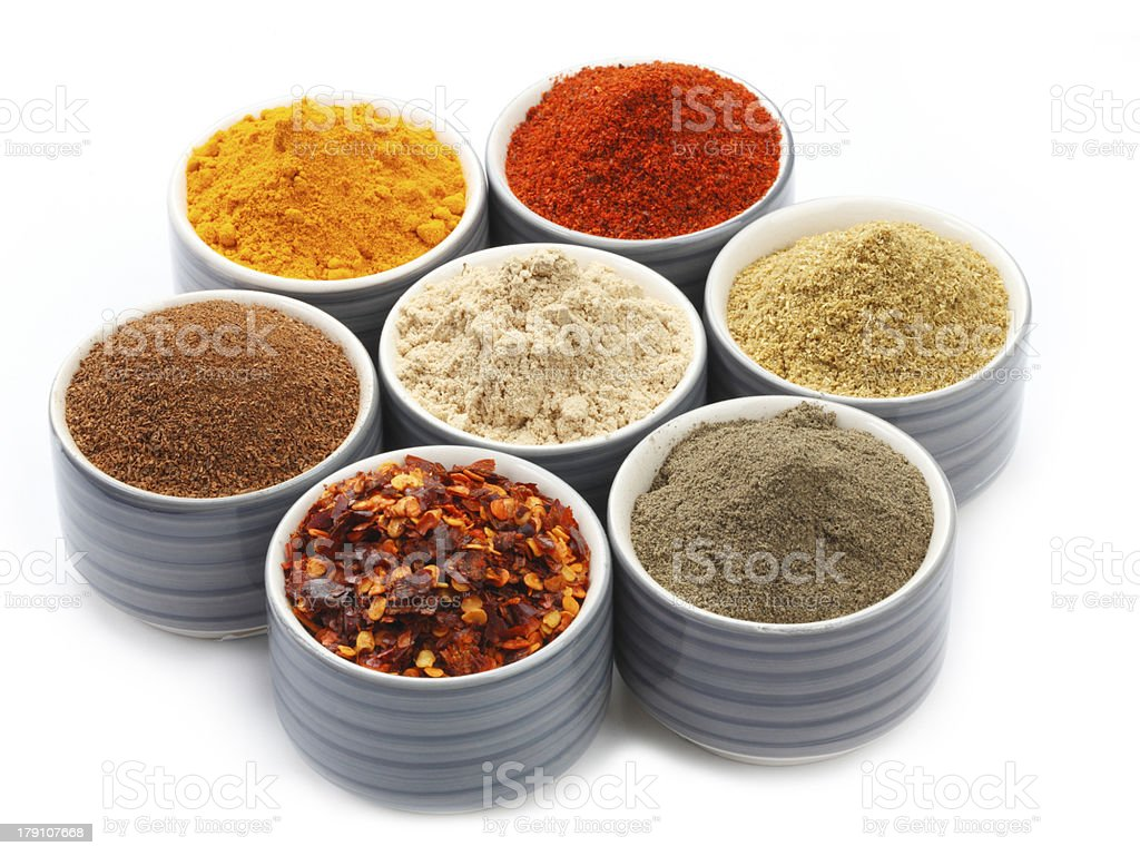 Variety of raw Authentic Indian Spice Powder. royalty-free stock photo